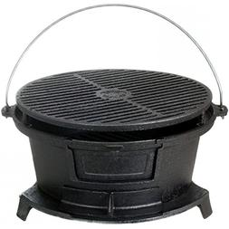 round seasoned cast iron charcoal