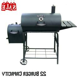 Outdoor Stainless BBQ Charcoal Grill with Smoker Side Table