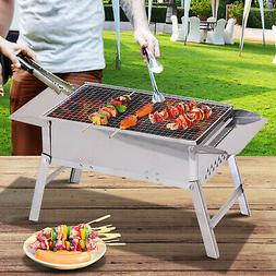 Stainless Steel BBQ Charcoal Grill Tabletop Cooking Camp Pic