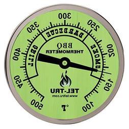 "Tel-Tru Patio Grill Thermometer 2"" face 2.5"" stem, 1/4-20 th"