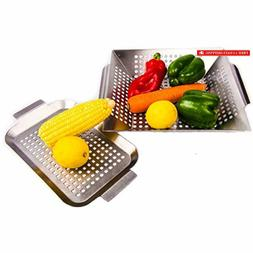 Vegetable Grill Basket and Smoker Pan - Set of 2 - Stainless