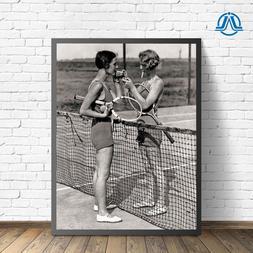 Vintage Tennis Photo Women Smoking Cigarettes Print Players